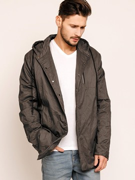Ericdress Plain Hood Loose Casual Men's Trench Coat