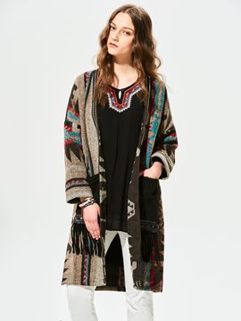 Ericdress Geometric Pattern Tassel Patchwork Cape