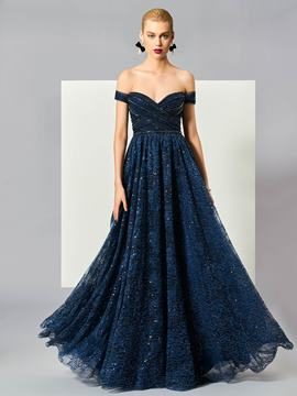 Ericdress A-Line Off-the-Shoulder Short Sleeves Beading Lace Long Evening Dress