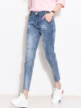Ericdress Worn Patchwork Washable Jeans