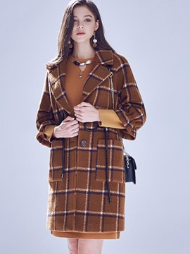 Ericdress Plaid Lace-Up Elegant Coat