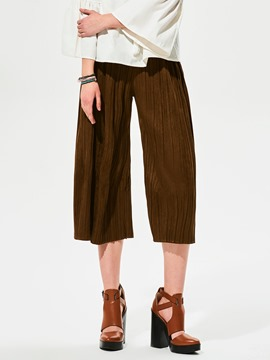 Ericdress Plain Pleated Loose Wide Legs Pants