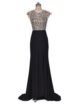 Ericdress Sheath Cap Sleeve Scoop Neck Crystal Beaded Evening Dress