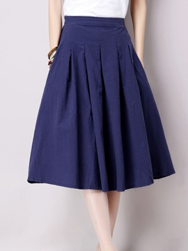 Ericdress Plain Pleated Patchwork Pocket A-Line Skirt