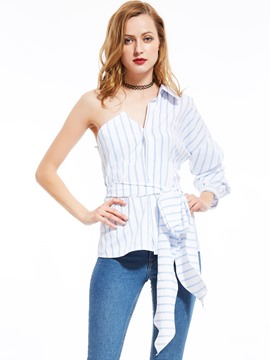 Ericdress Stripped Lace-Up Asymmetric Blouse