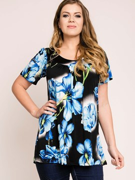 Ericdress Floral Printed Plus Size T-Shirt