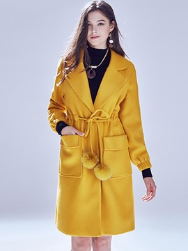 Ericdress Lace-Up Slim Solid Color Coat