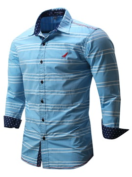 Ericdress Stripe Embroidery Long Sleeve Casual Men's Shirt