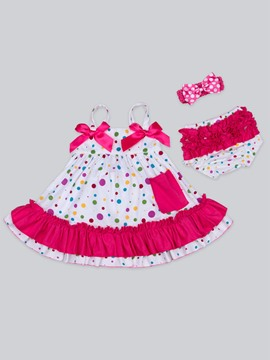 Ericdress Polka Dots Spaghetti Strap Dress Shorts with Headband 3-Pcs Baby Girls Outfit