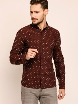 Ericdress Lapel Polka Dots Long Sleeve Quality Men's Shirt