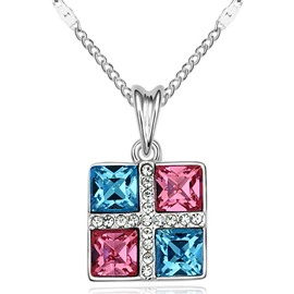 Ericdress Colorful Square Pendant Necklace with Rhinestone