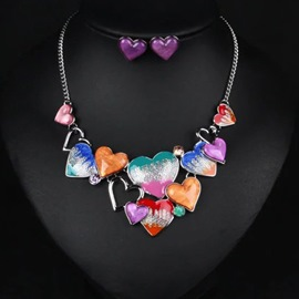 Ericdress Alloy Heart-Shaped Oil Drip Two-Pieces Jewelry Set