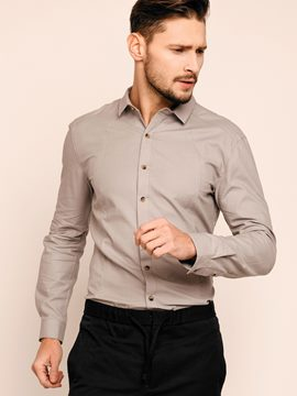Ericdress Plain Slim Long Sleeve Formal Men's Shirt