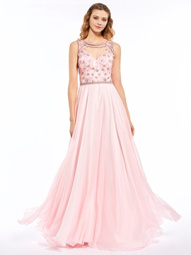 Ericdress A Line Beaded Sheer Back Chiffon Floor Length Long Prom Dress