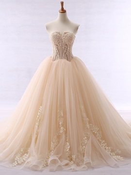 Ericdress Fancy Sweetheart Appliques Beaded Ball Gown Color Wedding Dress