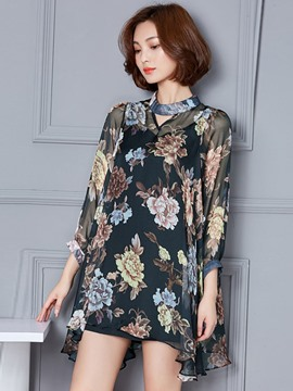 Ericdress Loose Chiffon Floral Blouse