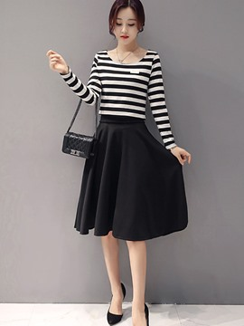 Ericdress Stripe Long Sleeve Pleated Appliques Skirt Suit