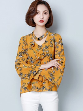 Ericdress Floral Printed Trumpet Blouse