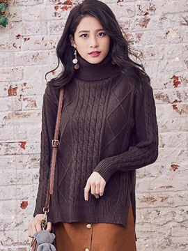 Ericdress Loose Turtleneck Solid Color Casual Knitwear