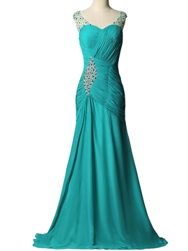 Ericdress Sheath Beaded Sweetheart Pleats Chiffon Evening Dress With Sweep Train
