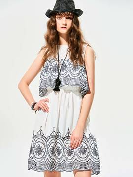 Ericdress Cold Shoulder Geometric Pattern A-Line Casual Dress