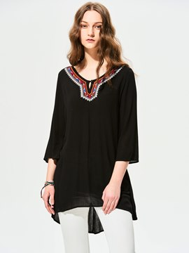 Ericdress Round Neck Embroidery Patchwork Blouse