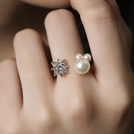 Ericdress Wonderful Pearl & Star Design Opening Ring