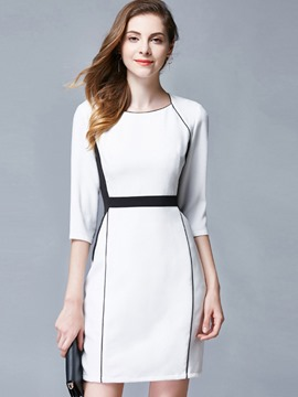 Ericdress OL Hemming Patchwork Zipper Bodycon Dress
