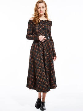 Ericdress Plaid Slash Neck Expansion Maxi Dress