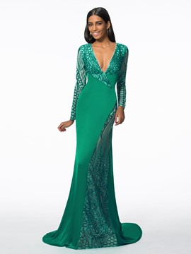 Ericdress Mermaid V-Neck Long Sleeves Sequins Court Train Evening Dress