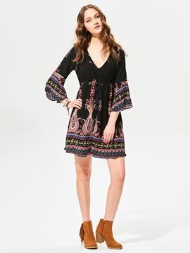 Ericdress V-Neck Flower Print Flare Sleeves Casual Dress