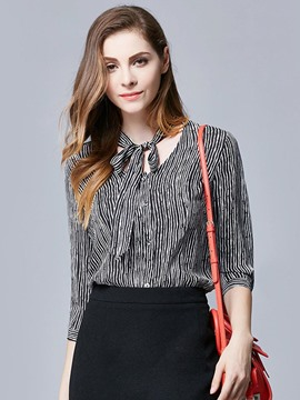 Ericdress Chiffon Stripe Half Sleeve Blouse