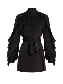 Ericdress Black Belt Falbala Patchwork Blouse