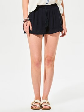 Ericdress Plain Embroidery Lace-Up Shorts Pants