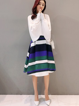 Ericdress Long Sleeve Shirt Pleated Stripe Print Skirt Suit