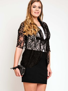 Ericdress Black Crochet See-Through Blouse