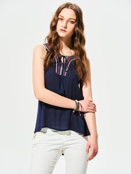Ericdress Plain Slim Embroidery Tank Top