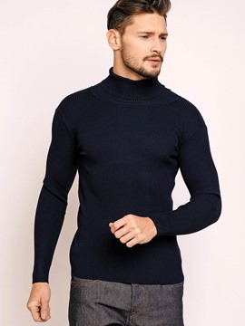 Ericdress Plain SlimTurtleneck Men's Sweater