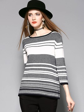 Ericdress Stripped Color Block Plus Size Knitwear