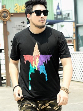 Ericdress Print Loose Plus Size Short Sleeve Men's T-Shirt
