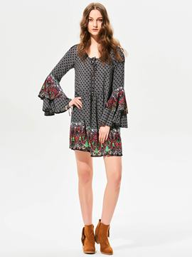Ericdress Geometric Pattern Flare Sleeves A-Line Casual Dress