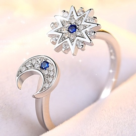 Ericdress 925 Silver Star & Moon Design Opening Ring