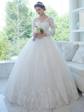 Ericdress Elegant Scoop Appliques Beaded Ball Gown Long Sleeves Wedding Dress