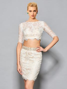 Ericdress Sheath Half Sleeve Two Pieces Lace Short/Mini Cocktail Dress