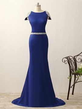 Ericdress Fancy Beaded Cap Sleeve Scoop Neck Mermaid Evening Dress