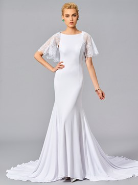 Ericdress Lotus Sleeve Mermaid LaceEvening Dress With Court Train