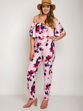 Ericdress Ruffles Floral Print Pleated Backless High-Waist Jumpsuits Pants