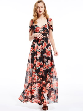Ericdress Floral Print Sleeveless Expansion Maxi Dress