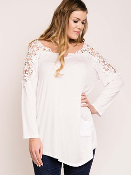 Ericdress White Floral Crochet Patchwork Plus Size T-Shirt
