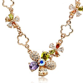 Ericdress Splendid Full Crystal Flowers Alloy Necklace